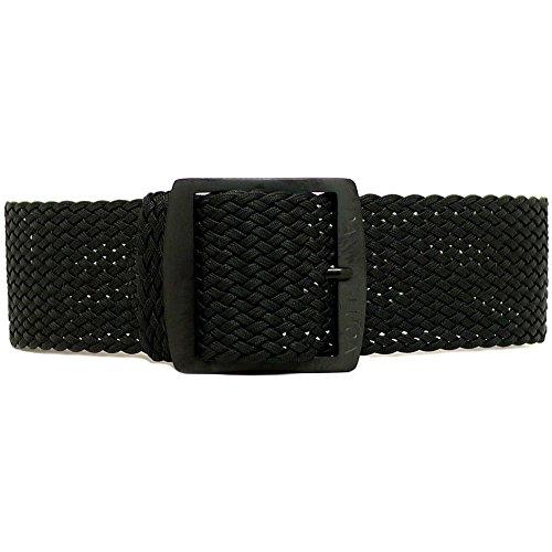 Cinturino intrecciato per orologio in nylon Perlon, DaLuca, nero, (fibbia con rivestimento PVD), 20 mm