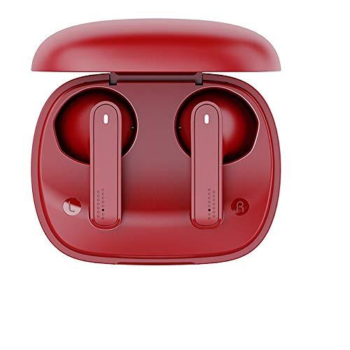 Auriculares inalámbricos con Bluetooth, control táctil con funda de carga inalámbrica, IPX5, impermeables, auriculares in-ear incorporados, graves profundos de alta calidad para (color: rojo)