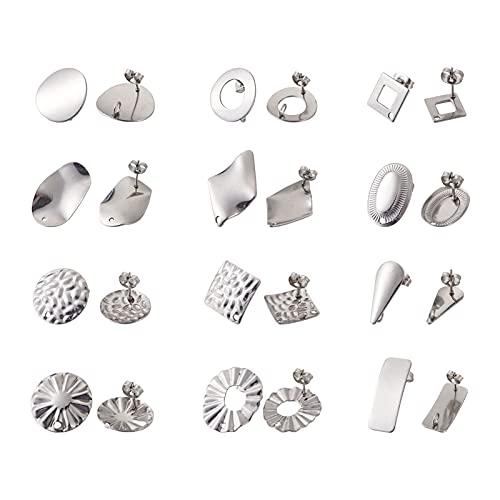 PandaHall 24 postes de acero inoxidable con lazo, 12 estilos de metal para pendientes con parte trasera de pendientes para hacer joyas, color acero inoxidable
