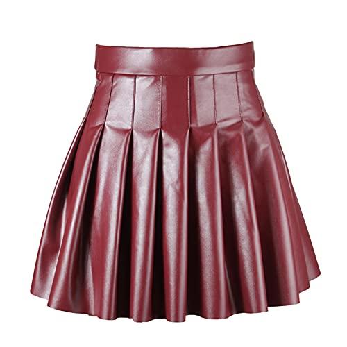 iiniim Minifalda para Mujer Elegante Falda Plisada Skater Corto Atractiva Falda de Cuero PU de Cintura Alta con Cremallera Mini Vestido Casual Sexy
