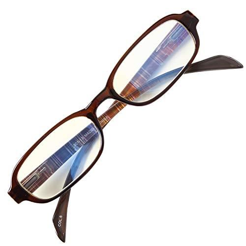 老眼鏡 NEW BL Cutter 801 バネ丁番 ブルーライトカット35% シンプルで締付け感なし 使いやすい老眼鏡 大ヒットモデル[PrePiar](ブラウン, 2.0)