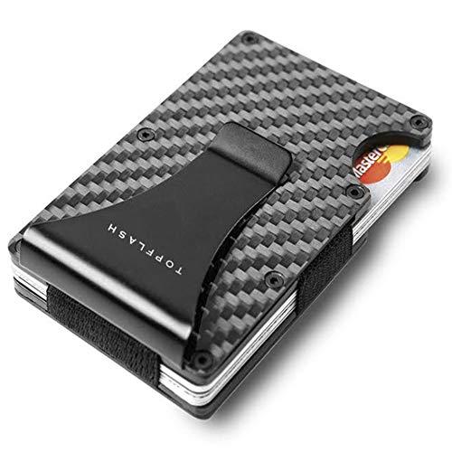 Minimalist Carbon Fiber Slim Wallet | RFID Blocking Front Pocket Wallet | Carbon Fiber Money Clip | Credit Card Holder for Men and Women | Mens Gift (black)