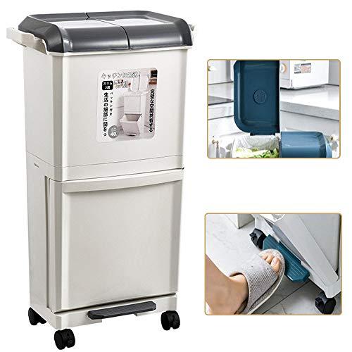 GBHJJ Cubo Basura Reciclaje Vertical, Papelera de Doble Compartimento Doble de 2 X 20 L para SeparacióN de Residuos, con Tapa a Prueba de Olores, para BañO Cocina Oficina Hogar,Grey