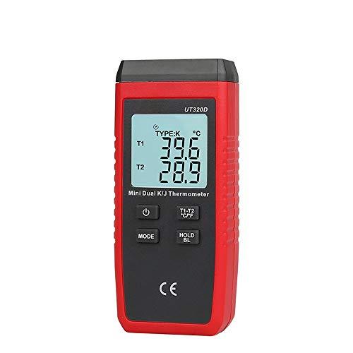 W.Z.H.H.H Tester elettronico Termometro Termocoppia UT320D UT320A Mini Tipo di Contatto Doppio Canale K/J Misuratore di Temperatura Dati di retroilluminazione Keep off Auto