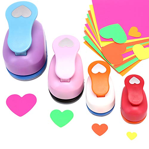 Heart Shaped Hole Punch - Buytra Scrapbook Paper Punchers, 4 PCS 5/8 Inch 1 Inch 3/2 Inch 2 Inch Punches with 10 PCS Colored Adhesive Card Stock, Paper Punches for Card Making DIY Albums Photos