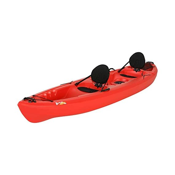 Lifetime Beacon Tandem Kayak, Red, 12' 5 Two built-in padded crs + ultra Lite seats. Rear tank well with cargo net lacing for storage Skeg wheel for enhanced tracking and easy transportation. Storage hatch for added storage beneath the deck Molded-in footwells for comfort and secure foot bracing. Four carry handles to assist in transport