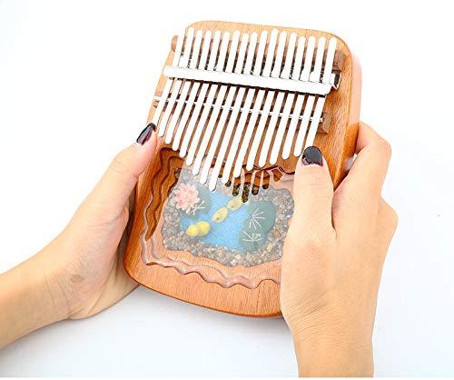 Mmorbon 17 Schlüssel Kalimba Daumenklavier, Mahagoni Marimba Instrument mit Tuninghammer und 7 Zubehör für Musikliebhaber Anfänger-Strand gelbe Entenversion