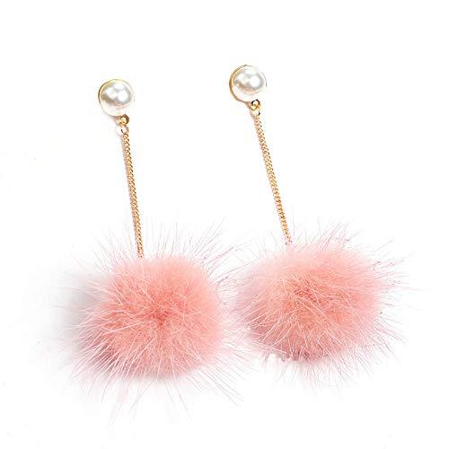 GGSDDU Exquisite Earrings For Women Mink Hair Long Dangle Earrings Pearl Pink Hair Ball Earrings Fashion Ear Jewelry