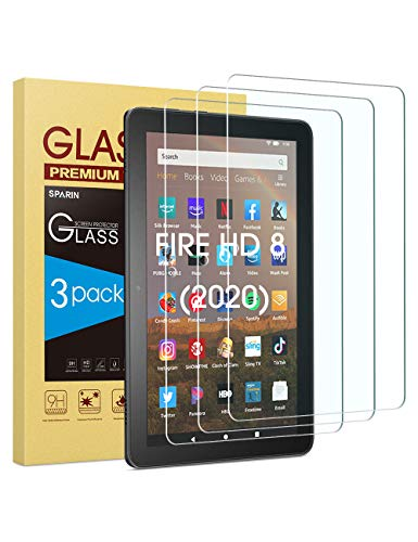 All-New Fire HD 8 / Fire HD 8 Plus Screen Protector, [3-Pack] SPARIN Tempered Glass for Fire HD 8/Fire HD 8 Plus/Fire HD 8 Kids (2020 Released), [Bubble Free] [High Definition]