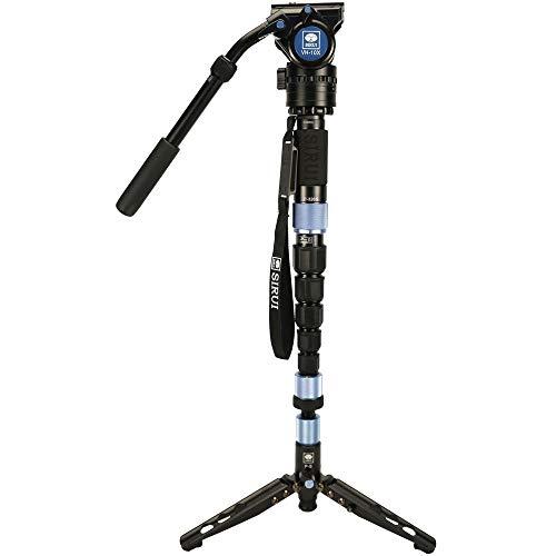 SIRUI P-324SR+VH-10X Einbeinstativ mit Standspinne und Videoneiger (20° neigbar, 360° drehbar) 10x Carbon