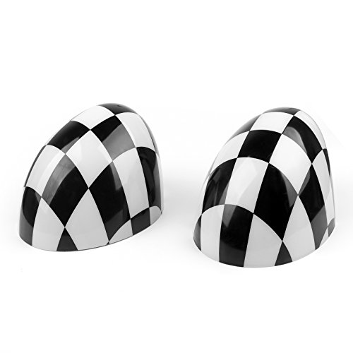 Areyourshop 2 tapas de espejo lateral a cuadros para Mini Cooper Hardtop 2014 F55 y 2015 F56