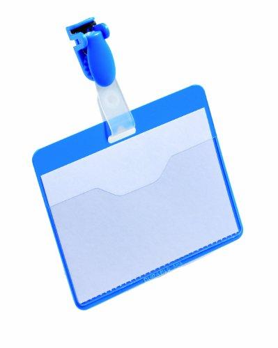 Durable 810606 Namensschild (mit Clip, 60 x 90 mm, Kunststoff) Packung à 25 Stück blau
