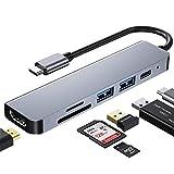 Adattatore hub di Tipo C USB C, 6 in 1 USB C a Adattatore HDMI 4K con 2 Porte USB 3.0, 87W Power Consegna (PD) per MacBook, Matebook, Notebook, Galaxybook ECC