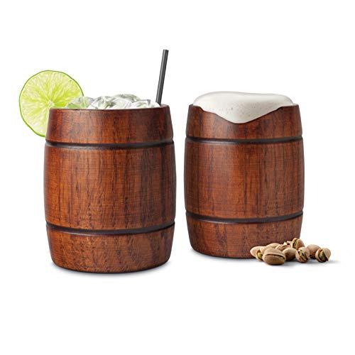 Final Touch Wood Barrel Tumblers- Verres de Cocktail en Bois- Idéales pour les cocktails, les bières ou les boissons froides