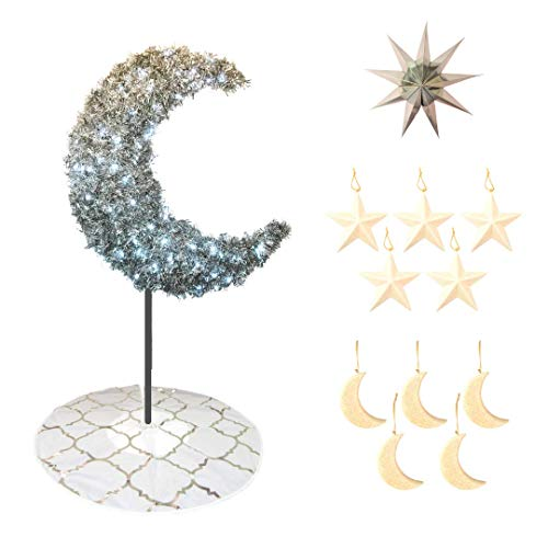 Peacock Supplies - Tree Bundle - 5ft Silver Eid Moon Tree - White