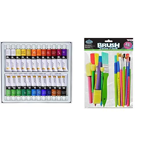 Royal & Langnickel - Témperas (12 ml, 24 Unidades), Multicolor + RART-18 - Brochas artesanía, Pack económico, 25 Piezas