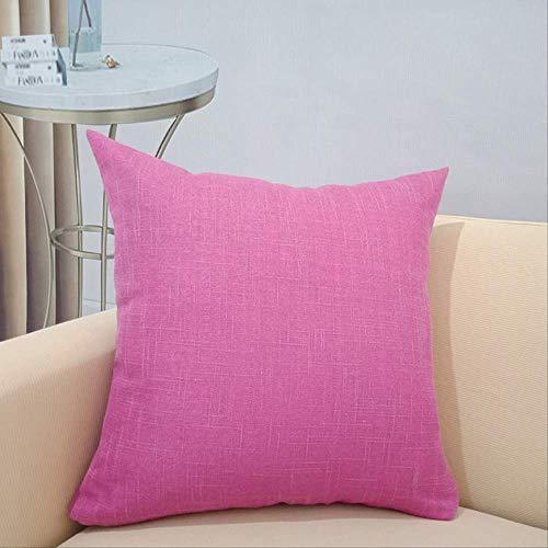 Cojín para sofá, hogar, oficina, siesta, cojín de coche, grueso, de lino, de un solo color, 50 x 50 cm, color rojo