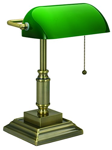 V-LIGHT with Replaceable LED, Green Shade Banker's Lamp, Antique Brass (8VS688029AB), Antique Bronze