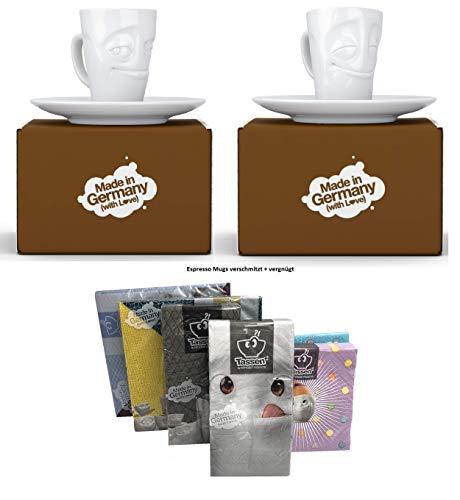 Fiftyeight Espressotassen Espresso Mug 2er Set + SERVIETTEN, 80 ml, VERSCHMITZT+VERGNÜGT E Mugs 2