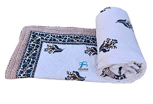 Feelcloud Colcha decorativa de Jaipuri Razai con estampado de flores y bloques de mano para cama doble, de algodón, tamaño King