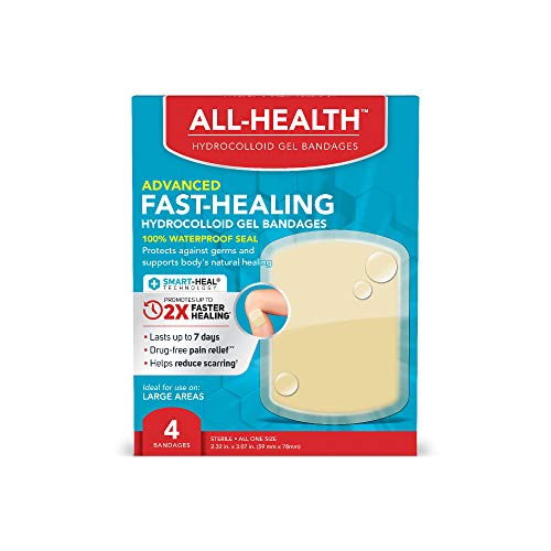 Vendajes de gel hidrocoloide All Health All Health, curación rápida, vendajes grandes para heridas, 4 unidades | 2 veces más rápido curación para ampollas de primeros auxilios o cuidado de heridas