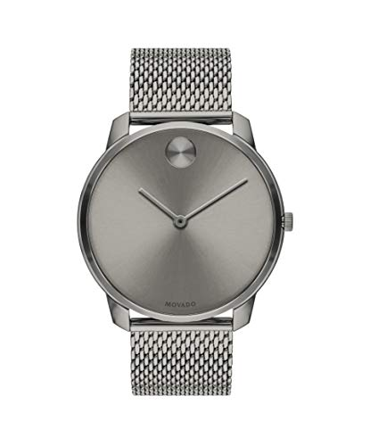 Movado Bold, Grey Ion-Plated Stainless Steel Case, Grey Dial, Grey Ion-Plated Stainless Steel Mesh Bracelet, Men, 3600599