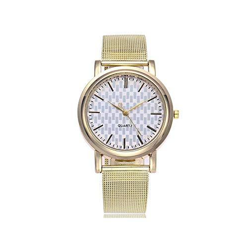 Uhren Damenuhren Watches Armbanduhren WatchMode Silber Und Gold Mesh Band Einfache Dialwomen Quarz Uhren-Gold_White