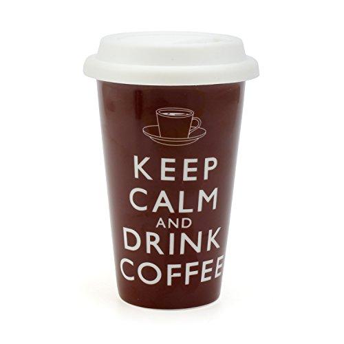 Robert Taubman Ltd - Tazza in ceramica a doppio strato, con coperchio in silicone e scritta Keep Calm and Drink Coffee