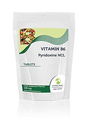 Vitamin B6 Pyridoxine HCL 100mg Food Supplement 90 Tablets Relief from PMS Symptoms Healthy Immune System Nerve and Cardiovascular Health HEALTHY MOOD UK Quality Nutrients