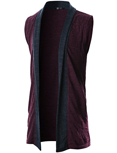 GIVON Mens Sleeveless Draped Open Front Shawl Collar Knitted Long Vest/DCC041-PURPLE-S