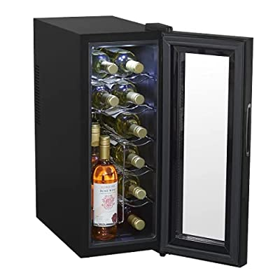 Baridi 12 Bottle Wine Cooler with Digital Touch Screen Controls & LED Light, Black - DH4 by Dellonda