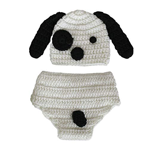 Hinzonek Tenues de Photographie de Bébé Bonnet Et Pantalon de Chiot Bébé en Fibre de Lait Doux Et Confortable pour Bébés de 0 à 2 Mois