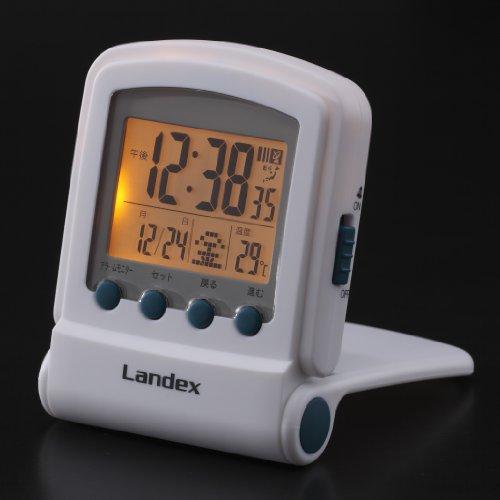 『LANDEX デジタル電波目覚まし時計 タイムフリッパーLite LEDバックライト付き ホワイト YT5221WH』のトップ画像