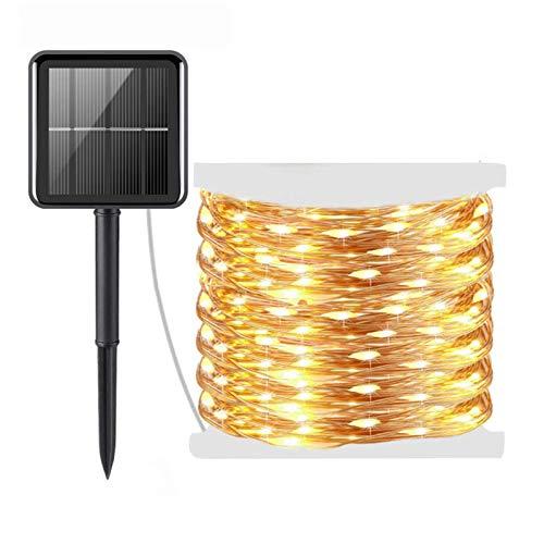 DJXLMN Cadena de luz LED Solar Impermeable 30m 300 Leds Luz de Navidad con 8 Modos de iluminación para decoración de Navidad al Aire Libre, Fiesta, Boda,10m