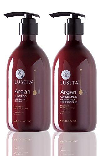 Set champú y acondicionador Luseta de aceite de argán para hidratar, dar brillo y reponer cabello dañado por calor y productos químicos, sin sulfatos, fosfatos ni parabenos