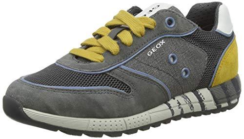 Geox Jungen J ALBEN Boy B Sneaker, Grau (Grey/Dk Yellow C1717), 34 EU