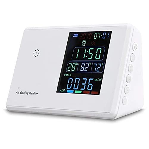Detector de dióxido de carbono Monitor de calidad del aire Analizador de gas Higrotermógrafo Reloj despertador Probador de dióxido de carbono para coche de oficina en casa (Color: Blanco, Tamaño: Ta