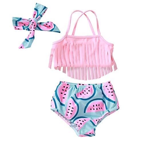 SEVEN YOUNG Newborn Baby Girls Swimsuit Outfits Sling Tassel Bikini Watermelon Shorts Beachwear Bathing Suit Clothes (Watermelon, 6-9 Months)