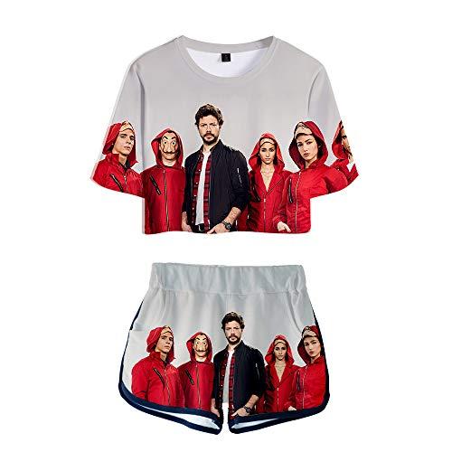 Mujeres Ombligo Camiseta Traje Corto Traje Dinero Atraco