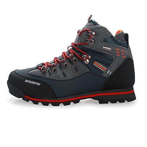 Gomnear de los Hombres Botas de montaña Alta Subida Trekking Zapatos Antideslizante Respirable Impermeable para Caminar Alpinismo (UK7.5/EU42, Anaranjado Azul Marino)