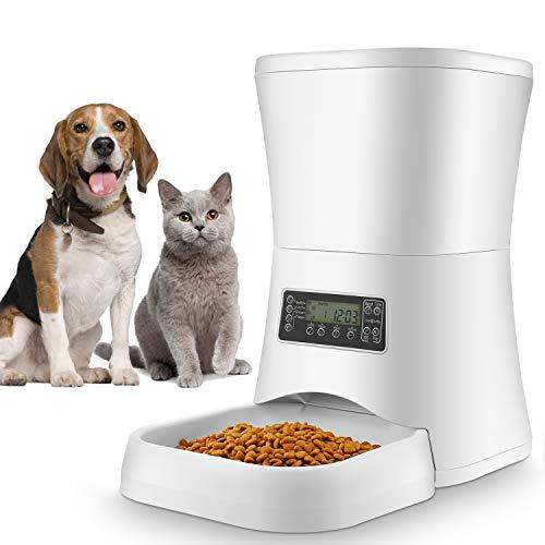 Sailnovo 7L Comedero Automático para Gatos y Perros con Temporizador y Función de Grabación de Sonido, Fuciona con el Enchufe o Las Pilas