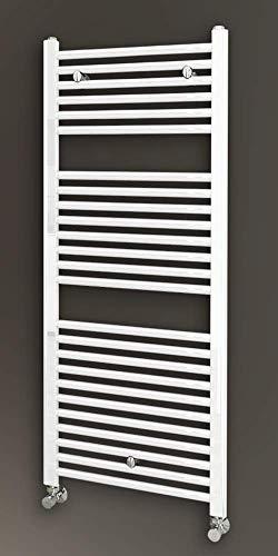 Kibath L484503 radiator voor warm water droger met buisafwerking in wit, 1200 x 500 geschikt voor standaard verwarmingsnetten