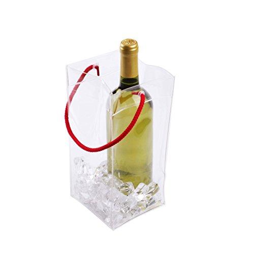 KOALA Bolsa Transparente con Asa Náutica, PVC, Rojo, 11x11x25 cm