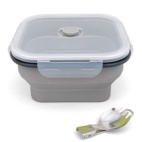 Ewrap 1200 ml große faltbare Schüssel, tragbare Silikon-Campingschüssel, mit faltbarem 2-in-1-Gabellöffel, spart 1/2 Platz, Verwendung in Mikrowelle und Gefrierschrank, grau
