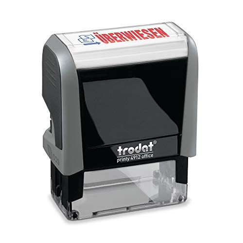 Trodat Office Printy 4912 Selbstfärbender Textstempel, Text Überwiesen, Abdruckfarbe blau-rot, 47 x 18 mm