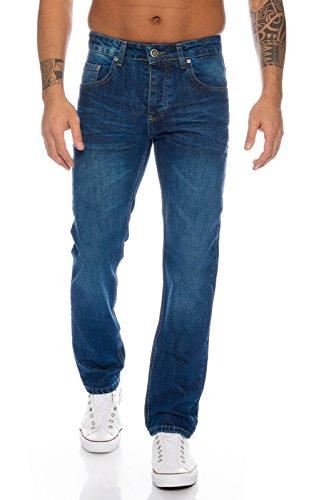 Lorenzo Loren Herren Jeans Hose Denim Jeans Used-Look Regular-Fit [LL328 - Blau - W34 L34]