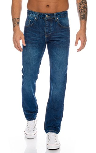 Lorenzo Loren Herren Jeans Hose Denim Jeans Used-Look Regular-Fit [LL328 - Blau - W33 L34]