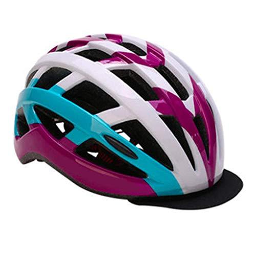 SFBBBO Casco Bicicleta Casco de Ciclismo para Mujer con Visera MTB Road Bike Eps Cascos Protector Bicicleta Cubierta de Cabeza Ajustable 54-59cm Púrpura