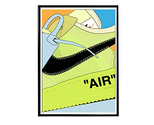 Rob's Tees Custom Neon Air Sneaker Poster, Kicks Poster, Hypebeast Posters, Cool Modern Art Poster, Streetwear Wall Art, Urban Art, Street Art Prints (Frame NOT Included) (24x36)