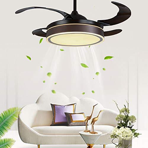Fetcoi 100 cm Ventilador de techo moderno marrón 36W LED CCT con 4 aspas de ventilador mando a distancia modernas lámparas de ventilador de 3 velocidades para casa salón oficina restaurante con luz